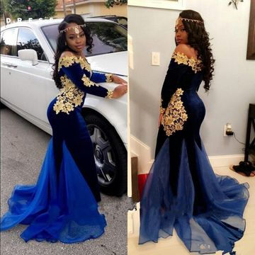 404369aa79139 Royal Blue Long Prom Dresses 2019 Mermaid Long Sleeves African Sexy For  Short Girls