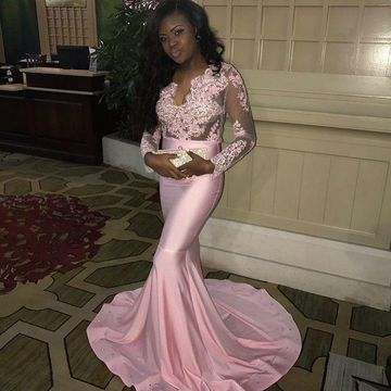 8b53975b7c4  146.99 Pink For Short Girls Prom Dresses 2019 Mermaid V-Neck Long Sleeves African  Sexy