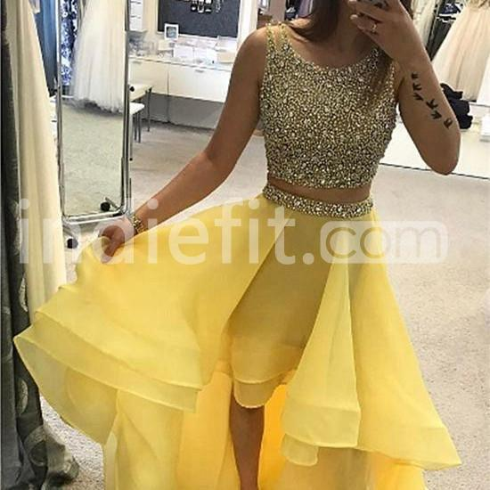 Yellow Long High,Low Prom Dresses 2019 A,line Sleeveless For Short Girls  Two Piece