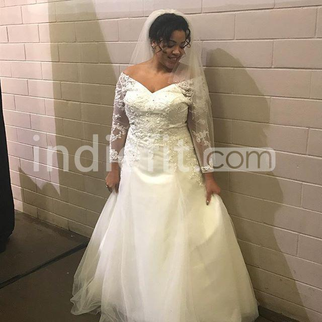 Long Sleeves A-line 2019 Plus Size Wedding Dress V-Neck Lace