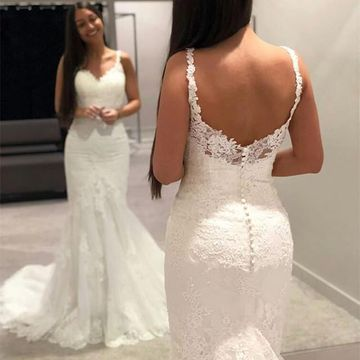 233 99 Straps Mermaid Lace 2019 Beach Wedding Dress