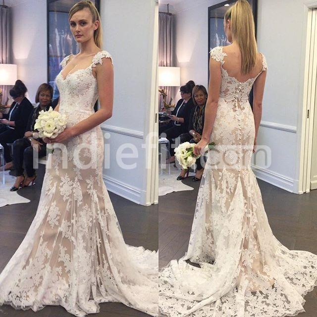 24299 Illusion Capped Sleeves 2019 Mermaid Lace Wedding Dress