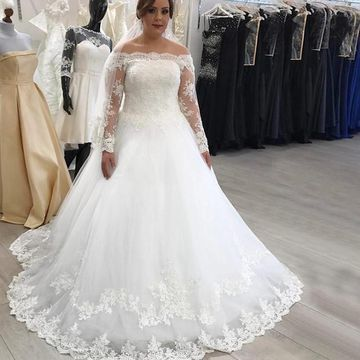 $244.99 Off the Shoulder Long Sleeves Lace A-line 2019 Wedding Dress ...