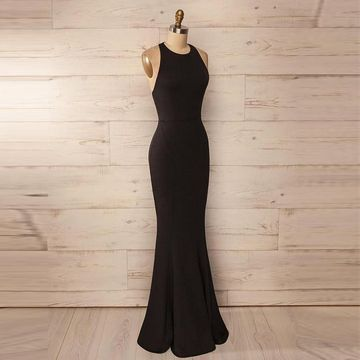 32529f443efa $158.99 Cheap Long Sexy Simple Black Mermaid Halter Sleeveless Backless Prom  Dresses 2019 Open Back For Short Girls