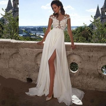 61a4958fdaf2  147.99 Long Sexy White Illusion Split Front A-line Short Sleeves Zipper  Appliques Prom Dresses 2019 Chiffon