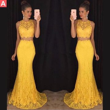 b6d275deaff  149.99 Long Sexy Yellow Mermaid Sleeveless Prom Dresses 2019 Lace Two Piece