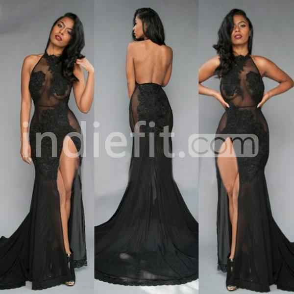 16723f569d7  139.99 Long Black Mermaid Halter Sleeveless Backless Appliques Prom ...