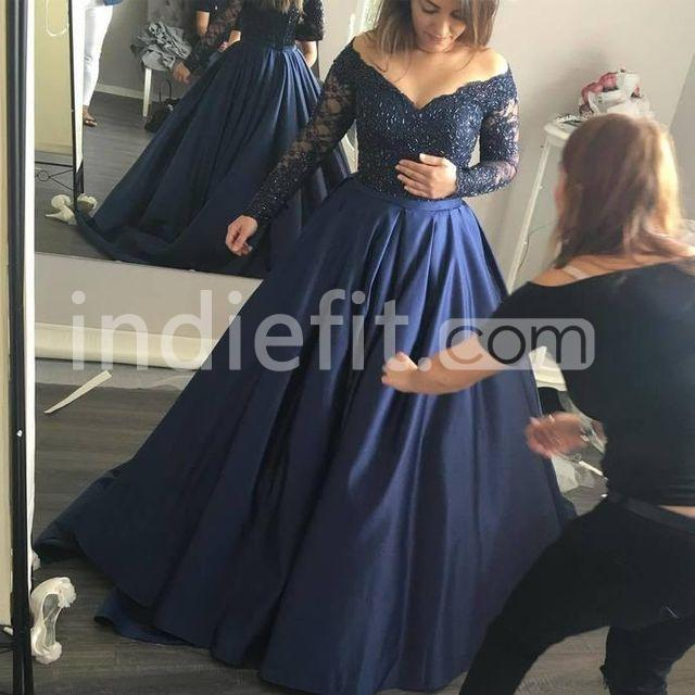 $164.99 Plus Size Blue Ball Gown Long Sleeves Beading Prom Dresses 2019