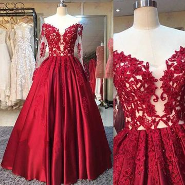 ad05ef6ad8  148.99 Red Ball Gown Long Sleeves Appliques Prom Dresses 2019