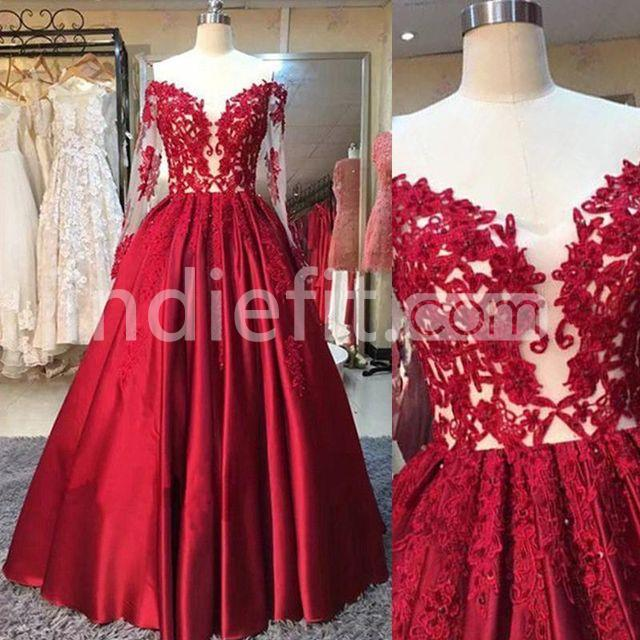 4e83079a8d9  148.99 Red Ball Gown Long Sleeves Appliques Prom Dresses 2019
