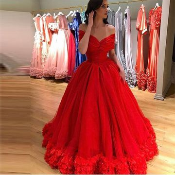 13990 Long Red Ball Gown Short Sleeves Zipper Flowers Prom Dresses