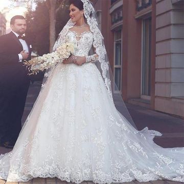 49d4d6fcb29  235.99 White Long Wedding Dresses 2019 Ball Gown Long Sleeves Lace Sexy