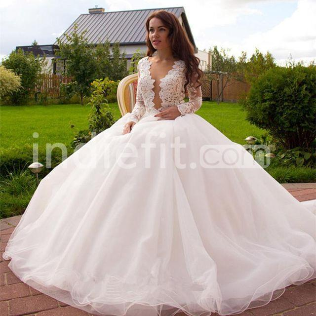 $226.99 Buttons Lace Wedding Dresses 2019 Ball Gown Long