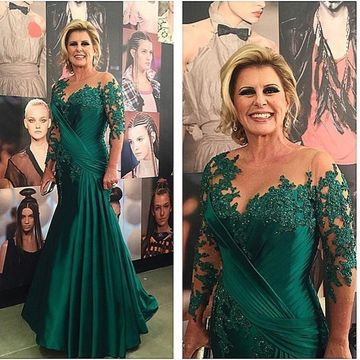 Green Long Mother of Bride Dresses 2019 Long Sleeves