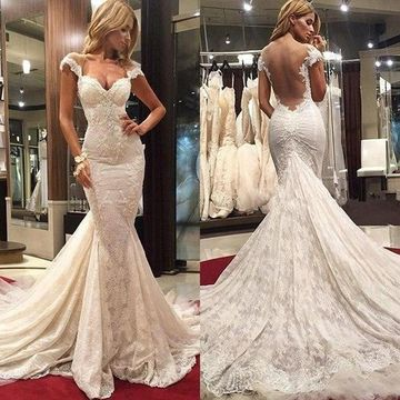 White Long Wedding Dresses 2019 Mermaid Open Back Lace Sexy