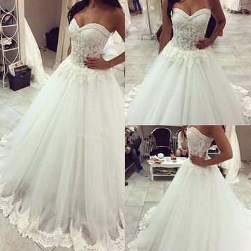 fecff6b370fe7 $235.99 White Long Wedding Dresses 2019 A-line Sleeveless For Short Girls