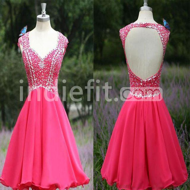 21ae1ba1cfd  125.99 Cute A-line Straps Sleeveless Backless Crystal Detailing Homecoming  Prom Dresses 2019 Open Back Chiffon For Short Girls