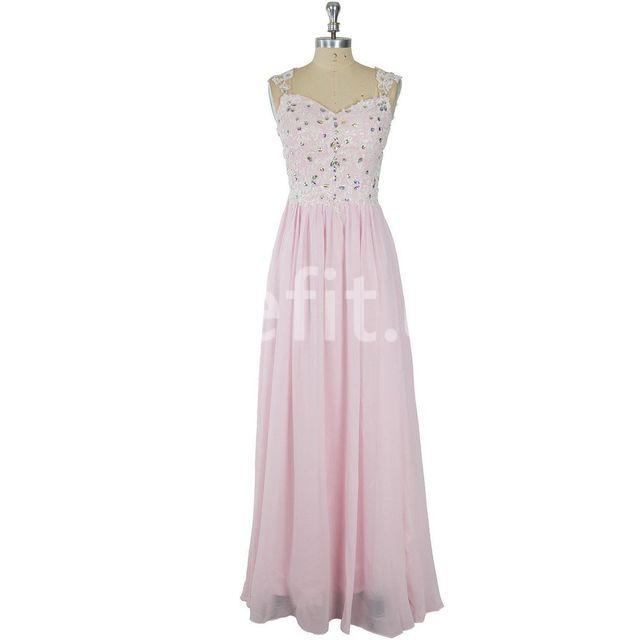 d1915ec0b2  154.99 Long Junior Pink A-line Straps Sleeveless Zipper Appliques ...