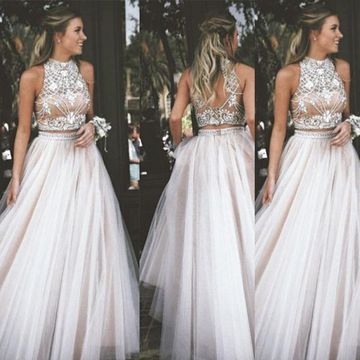 401eda6accc  159.99 Long Junior White A-line High Neck Sleeveless Zipper Appliques Prom  Dresses 2019 Sexy For Short Girls Two Piece