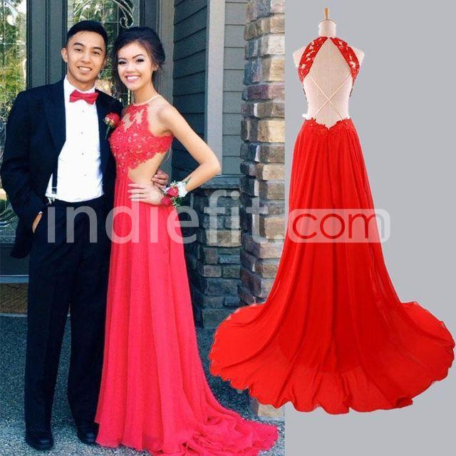 60eb36ab99  145.99 Long Junior Red A-line Halter Sleeveless Zipper Appliques ...