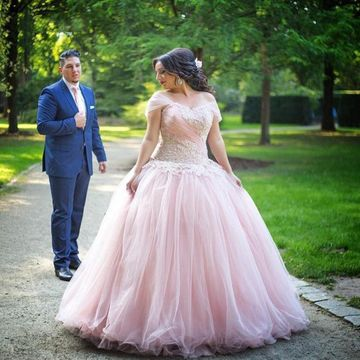 $149.99 Cheap Plus Size Pink Short Sleeves Zipper Appliques Prom ...
