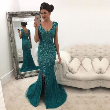 bf97d6efaf  246.99 Green Long Prom Dresses 2019 Mermaid Sleeveless