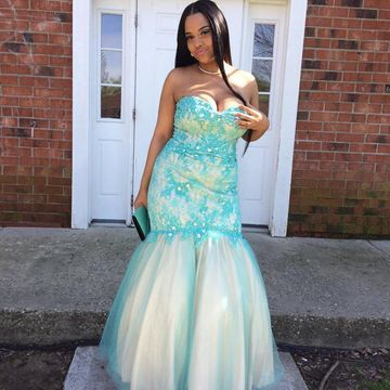 $158.99 Blue Lace Appliques Sweetheart Mermaid Tulle Plus Size Prom ...