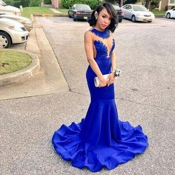 de927d8fe38  119.99 Blue Illusion Appliques Mermaid Prom Dresses 2019 Sleeveless African  For Short Girls