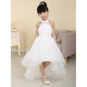 698d8e22e42  91.99 White High-Low Dresses 2019 Halter Sleeveless Flower Girl Dress