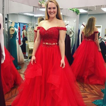 $149.99 Red Long Prom Dresses 2019 A-line Plus Size Two Piece