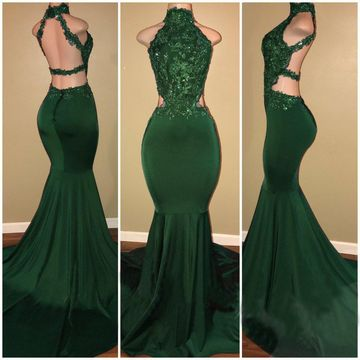 4ba69186fe  139.99 Green Long Prom Dresses 2019 Mermaid Sleeveless Open Back