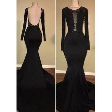 a9f35300573 1  2  3  4  5  6  7  8. Black Long Prom Dresses 2019 Mermaid Long Sleeves  Open Back