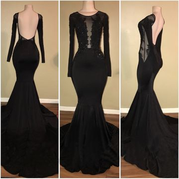 6559159458d  136.99 Black Long Prom Dresses 2019 Mermaid Long Sleeves Open Back