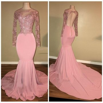 15c15f00c1e  136.99 Pink Long Prom Dresses 2019 Mermaid Long Sleeves Open Back Sexy