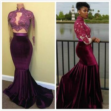 27ce6ffc591  156.99 Sexy Purple Mermaid High Neck Long Sleeves Appliques Prom Dresses  2019 Two Piece