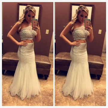95e3c6513aa  163.99 White One Shoulder Beading Mermaid Two Piece Prom Dresses 2019 For Short  Girls