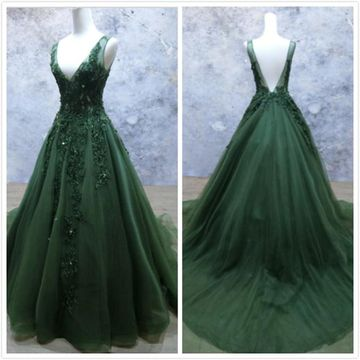 d7f3610101cb7 Elegant Gorgeous Dark Green A-line Sleeveless Natural Waist Beading Sequins  Appliques Prom Dresses 2019
