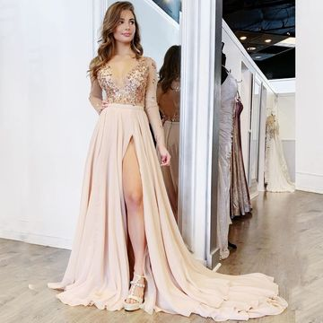b0271fe154b  149.99 Sexy Pink Pearl Pink A-line Long Sleeves Natural Waist Beading  Split Prom Dresses 2019