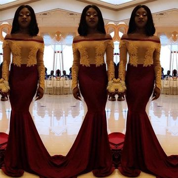 a7874fc96919 $149.99 Sexy African Red Burgundy Trumpet/Mermaid Long Sleeves Natural  Waist Appliques Prom Dresses 2019