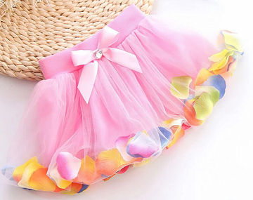 c7911392f6d2 $10.84 2019 Summer Hot-selling Baby Kids Girls Colorful Petals Bow Tutu  Skirt Princess Party Tulle Gown FANCY Clothes 3-8Y
