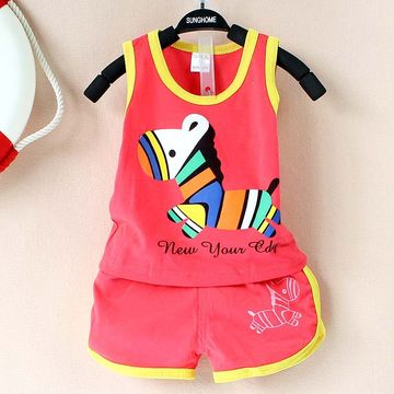 0945d0ffa  13.60 2019 New summer baby clothing set cotton Cute pattern Vest ...