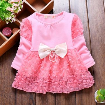 ad76ef4c38089 2019 Spring Summer Sweet Baby Girl Dress Long Sleeve 1 Year Baby Birthday  Dress Newborn Bow Infant Girls Party Dresses
