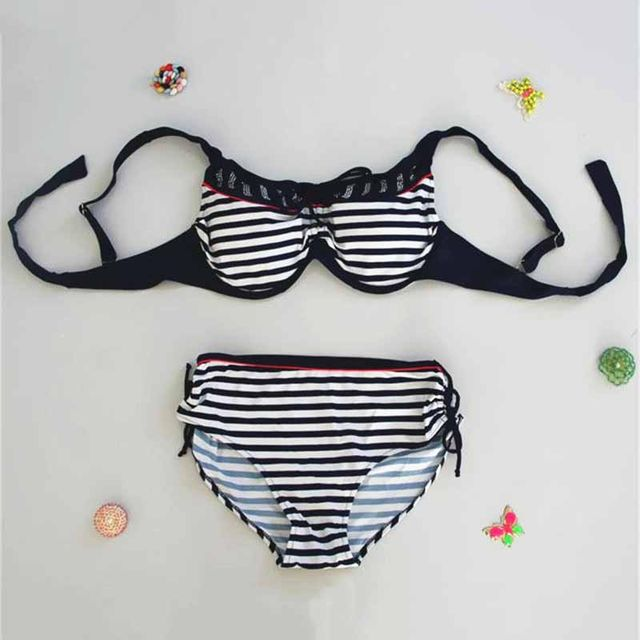 84a4a2d9a1fd7  26.99 2019 Bikinis Women Swimwear High Waist Swimsuit Plus Size Swimwear  Push Up Striped Bikini Set Retro Bathing Suit Swim XXXXL 5XL