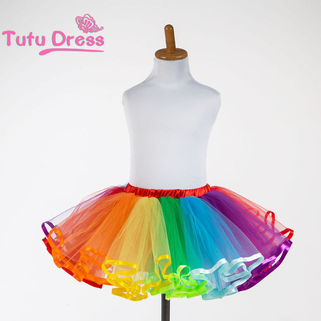 8b1c8645d3 $16.79 2019 New Summer Girl Rainbow Tutu Skirt With Lining Children  Clothing Colorful Skirts For 2-12 Years Old Girls