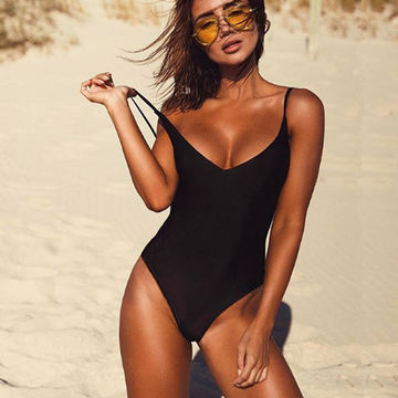 70d29c3a24 $29.84 2019 Sexy One Piece Swimsuit May Women Fused Swimwear Female Bather  Solid Black Thong Backless Monokini Beach Bathing Suit XL