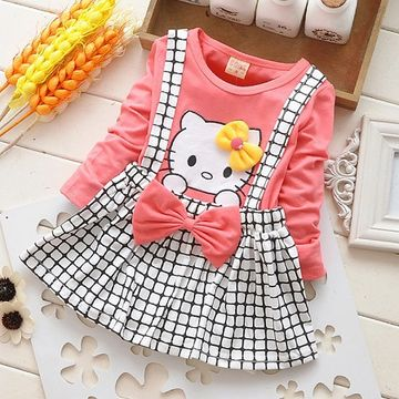 e5d14a76600a  20.99 2018 Spring Summer KT Cat Baby Girl Dress Long Sleeve 1 Year Baby  Birthday Dress Strap Plaid Infant Girl Dresses