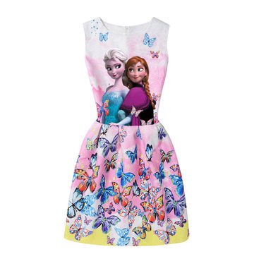 a281286ef9 $16.26 2019 Summer Girls Dresses Elsa Dress Anna Princess Party Dress For  Girls Vestidos Teenagers Butterfly Print Baby Girl Clothes