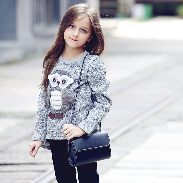 2086 2018 Autumn New Fashion Girls Sweaters Kids Fleece Lined