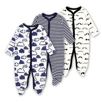 $25.30 3pieces/lot 100% Cotton Baby Romper Long Sleeves Baby Pajamas  Cartoon Printed Newborn Baby Girls Boys Clothes