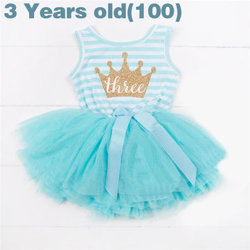 1498 Ai Meng Baby Flower Girls Princess First Birthday Outfits One Two Three Years Old Toddler Dresses Clothes Striped